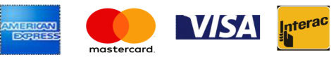 Instore payment options include American Express, MasterCard, Visa, Interact and PayPal