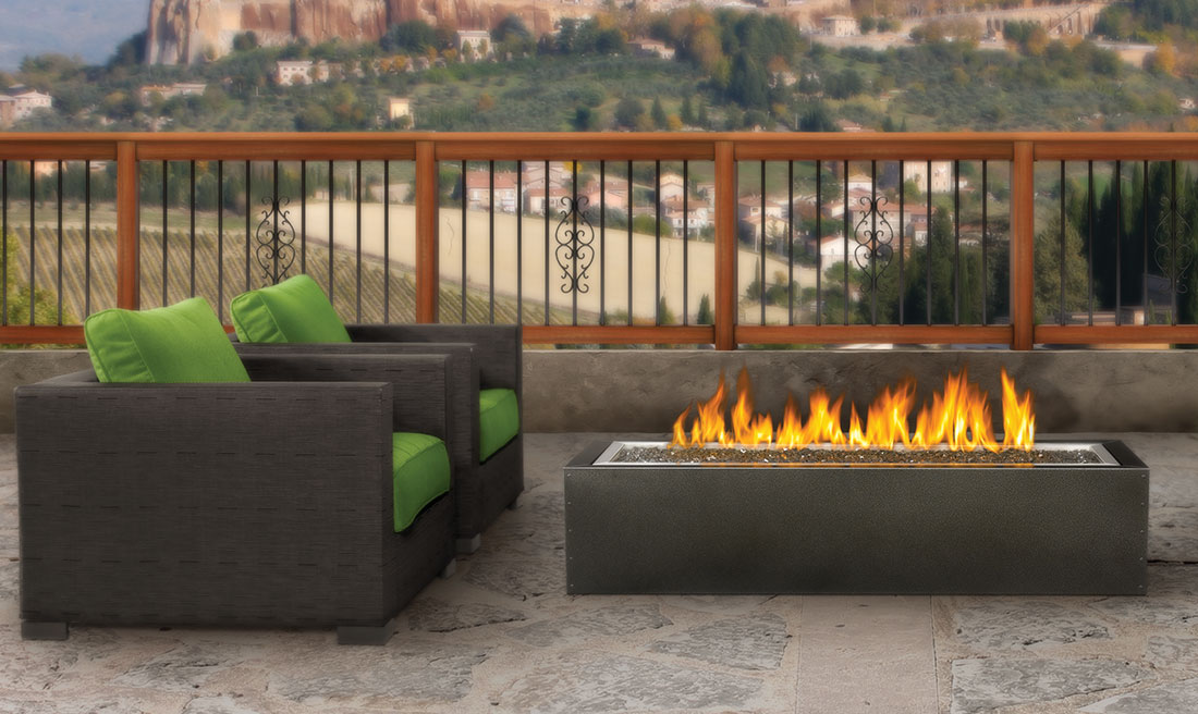Tuscany Concrete by Design Fire Table with maple leaf  design inset